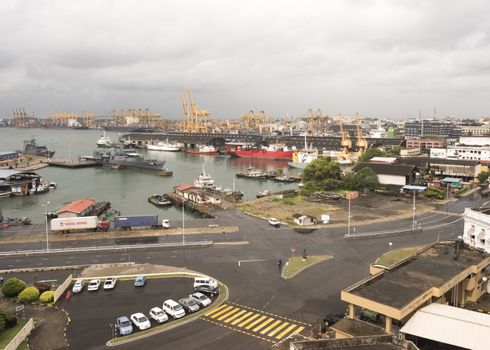 Sri Lanka, Colombo - August 2015: Freight container cranes at the Colombo dock yards