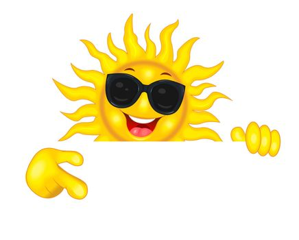 Cheerful cartoon sun in sun glasses. The smiling sun shows a direction with his hand, invites, pays attention. Sun on a white background.