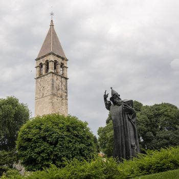 Croatia, Split - June 2018:The hand from  Ivan Mestrovic's sculpture of Gregory of Nin (Grgur Ninski). Gregor stands watch at the Golden Gate to the Diocletian's Palace