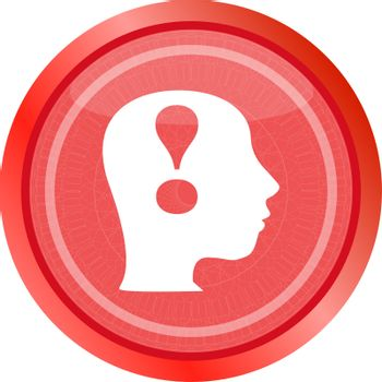 Human people head with exclamation mark icon, web button