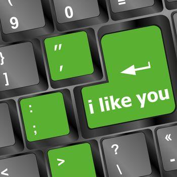 button keypad keyboard key with i like you words