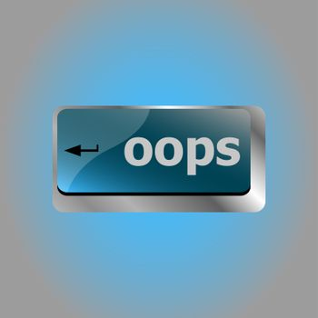 The word oops on a computer keyboard key
