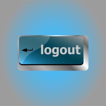 logout word on computer keyboard keys button