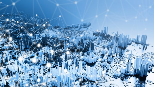Smart city with network connection background 3d render