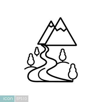 Mountain and river vector icon. Nature sign. Graph symbol for travel and tourism web site and apps design, logo, app, UI