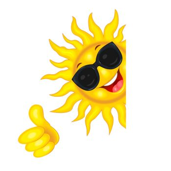 Cheerful cartoon sun in sun glasses. Sun on a white background. The sun rejoices in good luck.