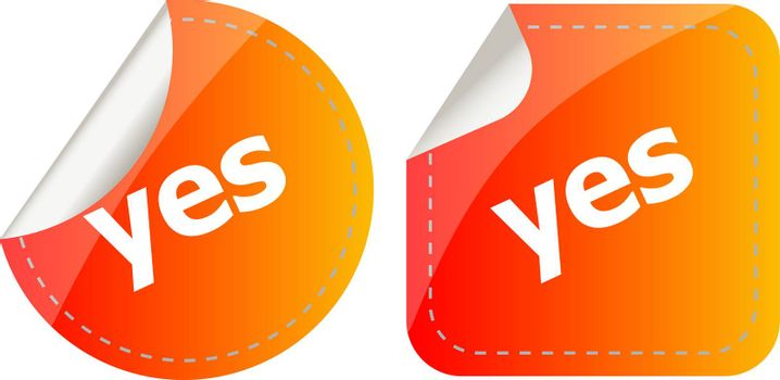 Yes word. stickers set, web icon button isolated on white