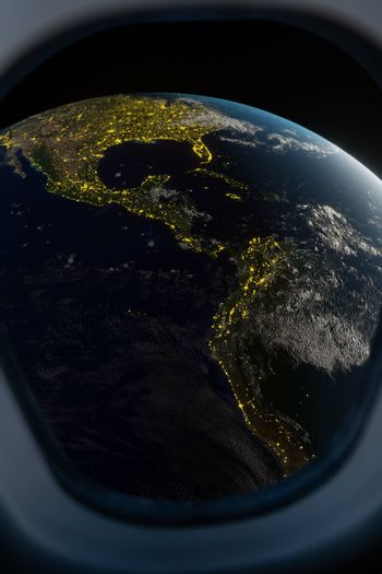 Earth view from spaceship window. 3D render