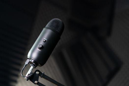 Studio condenser microphone in a recording studio.