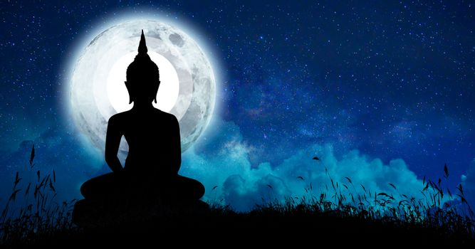 The Buddha meditated among many stars and a large moon.