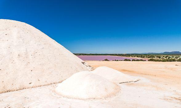 Salines saltworks with salt heap and salt basin