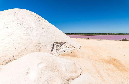 Saltworks, salt production, view of salt heap at salines with salt basin