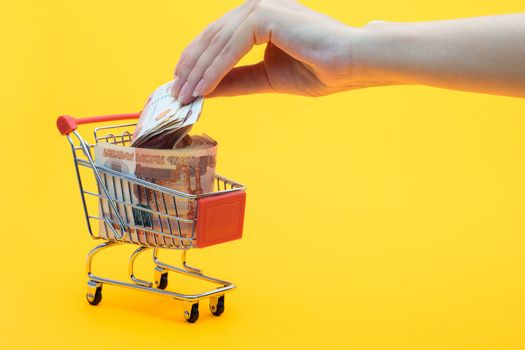 Hand puts another five thousandth bill into a grocery basket full of money
