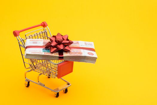 On the grocery cart is a bundle of money as a gift
