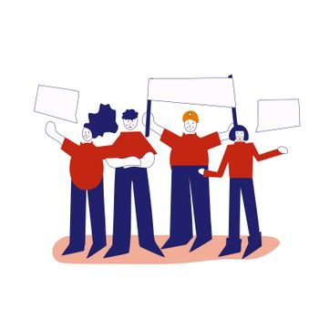 a crowd of workers, including men and women, are standing with signs and banners. illustration in constructivism style.