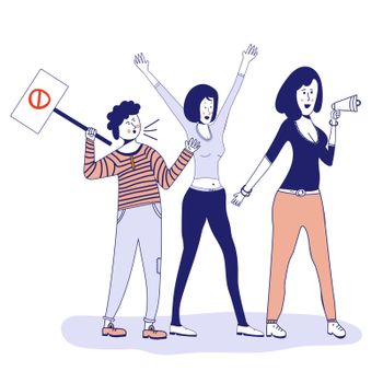 People who picket protest for workers' rights. Social activism. Vector illustration, blue line, in cartoon style.