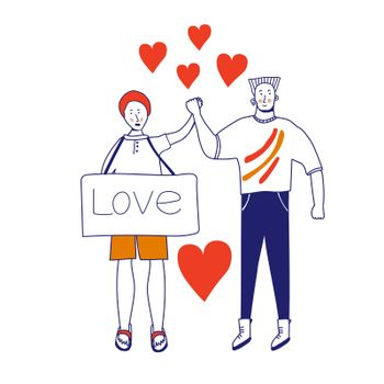Love card of a gay couple. Picket LGBTK. Different sexual orientation The concept of sexual discrimination of protest. Crowds of people are fighting for rights, freedom. illustration, blue line, in cartoon style