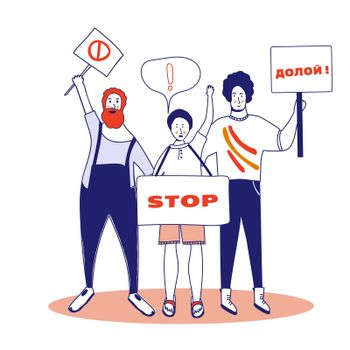 Protest. Three male activists are holding posters. Persons standing with spaces. Group of young men with banners taking part in the parade, picket. Social activism. illustration, blue line, in cartoon style.