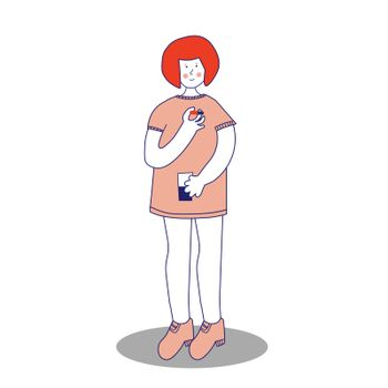 A young girl is drinking medicine. She holds a pill and a glass of water in her hands. Disease treatment. The child is being treated. Vector illustration, blue line, in cartoon style