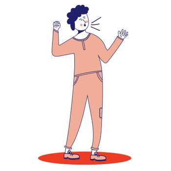 Angry Man screams. Guy yells. A man is calling someone. Vector illustration, line, in cartoon style.