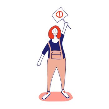 Woman holding a poster, protesting activist, workers strike. Worker holds a blank banner, takes part in the parade. Manifesto with a demo sign with blank space for text. Single picket for women's rights. Vector illustration, line, in cartoon style