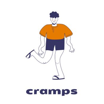 The man has cramps. Legs and arms tremble. The guy has convulsions. Vector illustration with blue outline in cartoon hand-drawn style
