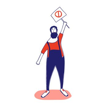 A man with a banner, a protesting activist, a workers' strike. Worker holds a blank banner, takes part in the parade. A manifest with a demonstration sign with empty space for text. Single picket. illustration with blue outline in cartoon hand-drawn style