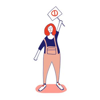 Woman holding a poster, protesting activist, workers strike. Worker holds a blank banner, takes part in the parade. Manifesto with a demo sign with blank space for text. Single picket for women's rights. illustration, line, in cartoon style