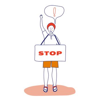 A man with a banner, a protesting activist, a workers' strike. Worker holds a blank banner, takes part in the parade. A manifest with a demonstration sign with empty space for text. Single picket. Vector illustration with blue outline in cartoon hand-drawn style