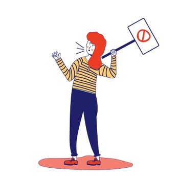 Woman holds a poster, protesting activist, workers strike. Worker holds a blank banner, takes part in the parade. Demo manifesto with blank space for text. A single picket for women's rights. A feminist. illustration, blue line, in cartoon style