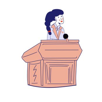 A young activist girl in a business suit behind a podium makes a speech. Girl politician. School debate. . Vector illustration, blue line, in cartoon style.