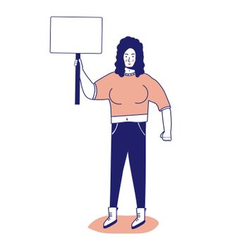 Strong muscular woman with a banner, protesting activist, workers strike. Worker holds a blank banner, takes part in the parade. Manifesto with a demo sign with blank space for text. Single picket for women's rights. illustration, line, in cartoon style