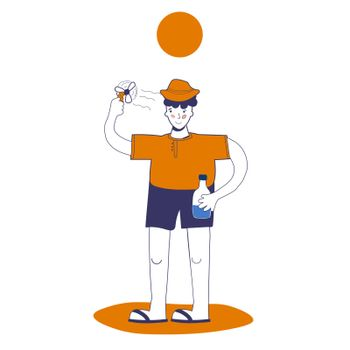 man uses a mini fan and holds water in his hand, protection from heat and heat shock. illustration with blue outline in cartoon hand-drawn style