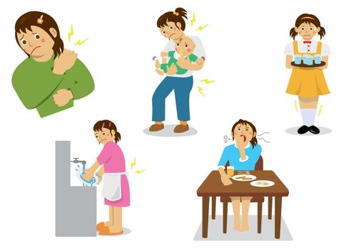 Young woman's pain , fatigue vector illustration set
