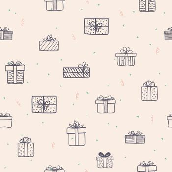 Hand drawn gift boxes seamless pattern for decorative,fabric,textile,print or wrapping paper,vector illustration