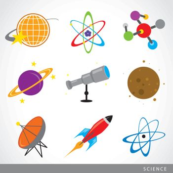 Space universe planet satellite telescope star Rocket molecule atom flat icon vector