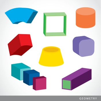 Set of 3D Geometric shapes, solids element vector illustration.