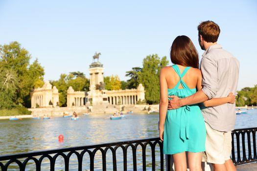 Romantic couple in love in El Retiro park Madrid