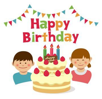 Happy birthday.Birthday cake and kids illustration.