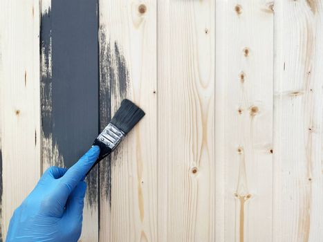 the left hand of worker in blue rubber gloves paints a wooden wall with brush of gray paint. Repair the surface.