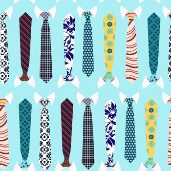 Seamless pattern with neckties. Colorful collection of Neck ties background pattern.