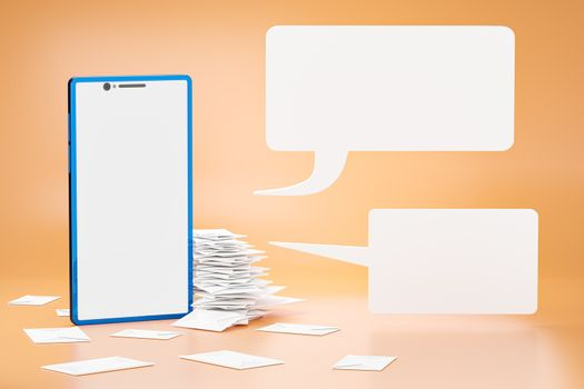 Many stacks of letters in the envelopes are placed beside the blue smartphone and there is a white chat box in front of the cell phone. Concepts of communication by email. Realistic 3D rendering.