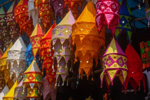 Indian color bright souvenir and fabrics for sale