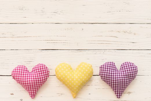 Romantic fabric hearts border for Valentine card background