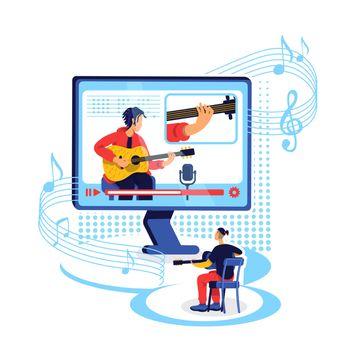 Online guitar tutorial flat concept vector illustration