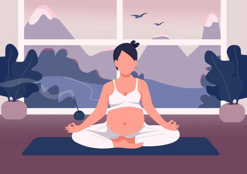 Pregnant woman meditate flat color vector illustration. Fitness for pregnancy at home. Girl relax in lotus pose with belly. Young mother 2D cartoon characters with window on background