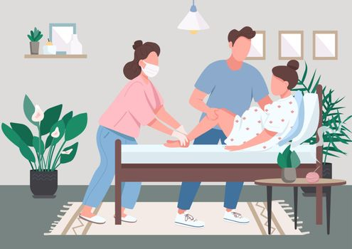 Professional midwifery flat color vector illustration