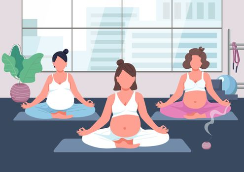Pregnancy yoga group flat color vector illustration. Prenatal exercise class. Woman with baby belly meditate. Young mother relax. Pregnant 2D cartoon characters with interior on background