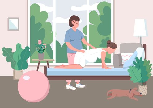 Midwifery flat color vector illustration. Professional doula guide. Prenatal care for woman. Alternative childbirth at home. Pregnant 2D cartoon character with assistant on background
