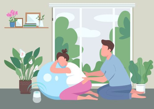 Message for pregnant woman flat color vector illustration. Husband and wife with aerobic ball. Fitness class for pregnancy. Young couple 2D cartoon characters with interior on background